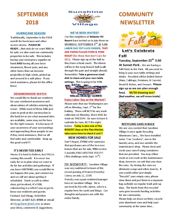 Newsletter - Sunshine Village